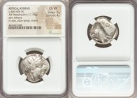 ATTICA. Athens. Ca. 440-404 BC. AR tetradrachm (24mm, 17.19 gm, 4h). NGC Choice VF 3/5 - 4/5. Mid-mass coinage issue. Head of Athena right, wearing cr...