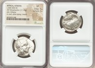 ATTICA. Athens. Ca. 440-404 BC. AR tetradrachm (24mm, 17.15 gm, 7h). NGC VF 5/5 - 3/5. Mid-mass coinage issue. Head of Athena right, wearing crested A...
