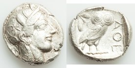 ATTICA. Athens. Ca. 440-404 BC. AR tetradrachm (25mm, 17.14 gm, 10h). VF. Mid-mass coinage issue. Head of Athena right, wearing crested Attic helmet o...
