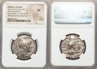 ATTICA. Athens. Ca. 165-42 BC. AR tetradrachm (29mm, 12h). NGC VF. New Style coinage, ca. 110/9 BC. Zoilos, Euandros and Asclepios, magistrates. Head ...