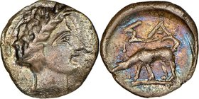 ELIS ISLANDS. Cephallenia. Same. Ca. 370-189 BC. AR obol (11mm, 7h). NGC Choice VF. Laureate head of Apollo right / Hound following scent right, ΣA ab...