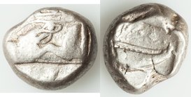 LYCIA. Phaselis. Ca. 500-440 BC. AR stater (19mm, 11.09 gm, 9h). VF. Prow of galley left in the form of a forepart of a boar / ΦΑΣ, Stern of galley ri...