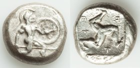 PAMPHYLIA. Aspendus. Ca. mid-5th century BC. AR stater (19mm, 10.77 gm, 12h). Fine. Helmeted nude hoplite advancing right, shield on left arm, spear f...