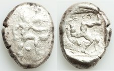 PAMPHYLIA. Aspendus. Ca. late-5th century BC. AR stater (23mm, 10.66 gm). Fine, overstruck. Helmeted nude hoplite advancing right, shield in left hand...