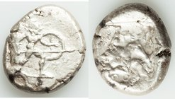 PAMPHYLIA. Aspendus. Ca. mid-5th century BC. AR stater (22mm, 10.96 gm). About VF. Helmeted nude hoplite advancing right, shield in left hand, spear f...