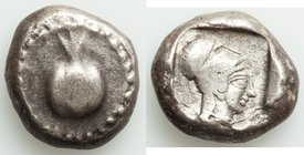 PAMPHYLIA. Side. Ca. 5th century BC. AR stater (18mm, 11.01 gm, 9h). VF. Ca. 430-400 BC. Pomegranate, guilloche beaded border / Head of Athena right, ...