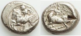 CILICIA. Celenderis. Ca. 425-350 BC. AR stater (20mm, 10.75 gm, 6h). VF, test cut. Ca. 425-400 BC. Youthful nude male rider, reins in right hand, kent...