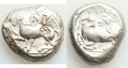 CILICIA. Celenderis. Ca. 425-400 BC. AR stater (20mm, 10.65 gm, 9h). Choice Fine, countermark. Youthful nude male rider, reins in right hand, kentron ...