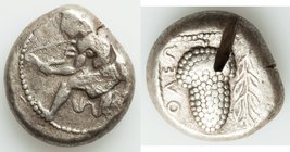 CILICIA. Soloi. Ca. 440-400 BC. AR stater (20mm, 10.41 gm, 8h). VF, test cut. Amazon, nude to waist, on one knee left, wearing pointed cap, bowcase at...