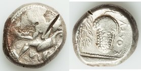 CILICIA. Soloi. Ca. 440-400 BC. AR stater (21mm, 10.87 gm, 8h). Choice Fine, test cut. Amazon, nude to waist, on one knee left, wearing pointed cap, b...