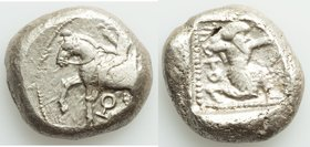 CILICIA. Tarsus. Ca. late 5th century BC. AR stater (20mm, 10.54 gm, 4h). Fine. Satrap on horseback riding left, reins in left hand; ankh below / Arch...