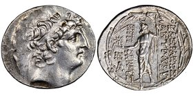 SELEUCID KINGDOM. Antiochus VIII Epiphanes (121-96 BC). AR tetradrachm (31mm, 2h). NGC Choice XF, brushed. Antioch on the Orontes, ca. 121/0-113 BC. D...