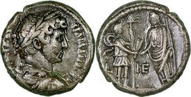 EGYPT. Alexandria. Hadrian (AD 117-138). BI tetradrachm (23mm, 11.54 gm, 12h). NGC Choice VF 4/5 - 3/5, lacquered Dated Regnal Year 15 (AD 130/1). ΑVΤ...