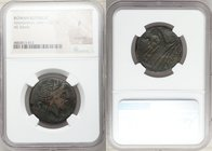 Anonymous. After ca. 211 BC. AE semis (26mm, 5h). NGC Fine, scratches. Uncertain mint. Laureate head of Saturn right; S (mark of value) behind / ROMA,...