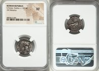 Sextus Pomponius Fostlus (ca. 137 BC). AR denarius (19mm, 6h). NGC XF. Rome. Head of Roma right, wearing winged helmet decorated with griffin crest; X...