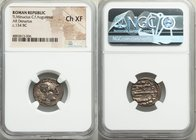 Ti. Minucius C.f. Augurinus (ca. 134 BC). AR denarius (18mm, 3h). NGC Choice XF. Rome. Head of Roma right, wearing winged helmet decorated with griffi...