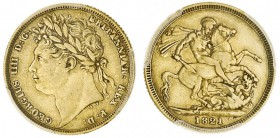 GREAT BRITAIN. George IV, 1820-30. Gold Sovereign, 1821, London. PCGS XF45. 7.99 g. 22.05 mm. Mintage: 9,405,114. S-3800. In a protective plastic hold...