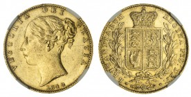 GREAT BRITAIN. Victoria, 1837-1901. Gold Sovereign, 1842, London. NGC AU58. 7.99 g. 22.05 mm. Mintage: 4,865,375. Marsh 25, S.3852. Closed 2 in date. ...