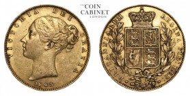 GREAT BRITAIN. Victoria, 1837-1901. Gold Sovereign, 1843, London. Good very fine.. 7.99 g. 22.05 mm. Mintage: 5,981,968. Marsh 26, S.3852. Good very f...