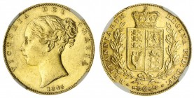 GREAT BRITAIN. Victoria, 1837-1901. Gold Sovereign, 1845, London. NGC AU58. 7.99 g. 22.05 mm. Mintage: 3,800,845. Marsh 28, S.3852. Wide date In a pro...