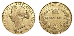 AUSTRALIA. Victoria, 1837-1901. Gold Sovereign, 1857-SY, Sydney. Fine.. 7.99 g. 22.05 mm. Mintage: 499,000. Marsh 362 (R); KM# 4. Scarce early date fr...