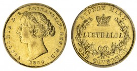 AUSTRALIA. Victoria, 1837-1901. Gold Sovereign, 1864-SY, Sydney. PCGS AU55. 8.00 g. 22.05 mm. Mintage: 2,698,500. Marsh 369; KM.4; McD.111. In a prote...