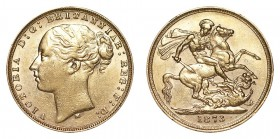 AUSTRALIA. Victoria, 1837-1901. Gold Sovereign, 1873-M, Melbourne. VF or slightly better.. 7.99 g. 22.05 mm. Mintage: 1,478,000. Marsh 95; S-3857. You...