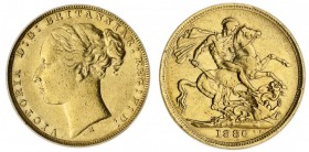 AUSTRALIA. Victoria, 1837-1901. Gold Sovereign, 1880-M, Melbourne. CGS 35. 7.99 g. 22.05 mm. Mintage: 3,053,454. Marsh 102; S.3857. Young head, St. Ge...