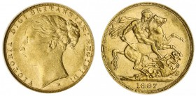 AUSTRALIA. Victoria, 1837-1901. Gold Sovereign, 1887-M, Melbourne. CGS 45. 7.99 g. 22.05 mm. Mintage: 1,916,424. Marsh 109; S-3857-C. Young head, St. ...