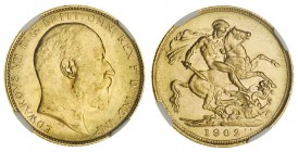 AUSTRALIA. Victoria, 1837-1901. Gold Sovereign, 1902-M, Melbourne. NGC MS63. 8.00 g. 22.05 mm. Mintage: 4,267,157. Marsh 186, S.3971. In a protective ...