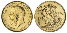 SOUTH AFRICA. George V, 1910-36. Gold Sovereign, 1928-SA, Pretoria. NGC MS64. 7.99 g. 22.05 mm. Mintage: 18,235,057. Marsh 292, S-4004. In a protectiv...