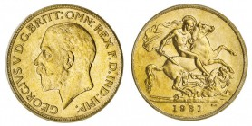 AUSTRALIA. George V, 1910-1936. Gold Sovereign, 1931-P, Perth. PCGS MS62. 8.00 g. 22.05 mm. Mintage: 1,173,568. Marsh 270, S-4002. Small head. Marsh d...