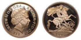 GREAT BRITAIN. Elizabeth II, 1952-. Gold Proof Sovereign, 2008, London. Fleur-de-Coin (FDC). 7.99 g. 22.05 mm. Mintage: 12,500. S-4430. In box of issu...