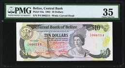 Belize Central Bank 10 Dollars 1.7.1983 Pick 44a PMG Choice Very Fine 35.   HID09801242017