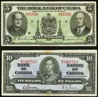 Canada Royal Bank of Canada $5 1943 Ch.# 630-20-02 Very Fine, pinholes, minor edge tears; Canada Bank of Canada $10 1937 BC-24b Very Fine, tape on upp...