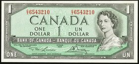 Canada Bank of Canada $1 1954 BC-37d About Uncirculated. Descending ladder serial number.  HID09801242017