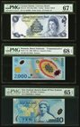Lot Of Three PMG Graded Examples From Cayman Islands, Romania & New Zealand. Cayman Islands Currency Board 1 Dollar 1974 (ND 1985) Pick 5f PMG Superb ...