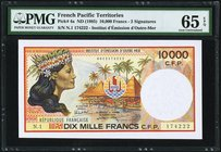 French Pacific Territories Institut d'Emission d'Outre-Mer 10,000 Francs ND (1985) Pick 4a PMG Gem Uncirculated 65 EPQ.   HID09801242017