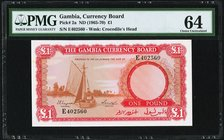 Gambia Gambia Currency Board 1 Pound ND (1965-70) Pick 2a PMG Choice Uncirculated 64.   HID09801242017