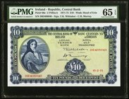 Ireland Central Bank of Ireland 10 Pounds 10.2.1975 Pick 66c PMG Gem Uncirculated 65 EPQ.   HID09801242017