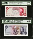 Isle Of Man Isle of Man Government 10 Shillings; 1 Pound ND (1961) Pick 24b; 25b Two Examples PMG Superb Gem Unc 67 EPQ.   HID09801242017