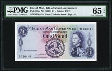 Isle Of Man Isle of Man Government 1 Pound ND (1961) Pick 25b PMG Gem Uncirculated 65 EPQ.   HID09801242017