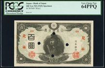 Japan Bank of Japan 100 Yen ND (1945) Pick 78As2 Specimen PCGS Very Choice New 64PPQ. Four POCs.  HID09801242017