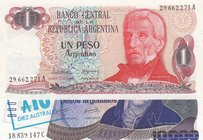 Argentina, 1 Peso and 10000 Australes, 1983-1984/ 1985, UNC, p311a/ p322