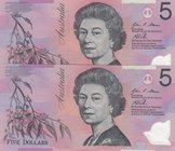 Australia, 5 Dollars, 2013, UNC, p57h, (Total 2 consecutive banknotes)