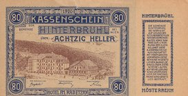 Austria, 80 Heller, 1920, AUNC, pS118 