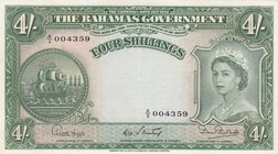 Bahamas, 4 Shillings, 1954, XF- AUNC, p13b