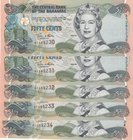 Bahamas, 50 Cents, 2001, UNC, p68, (Total 5 consecutive banknotes)