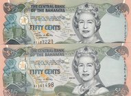 Bahamas, 50 Cents, 2001, UNC, p68, (Total 2 Banknotes)