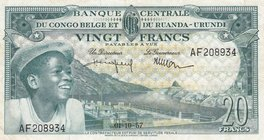 Belgian Congo, 20 Francs, 1957, XF, p31